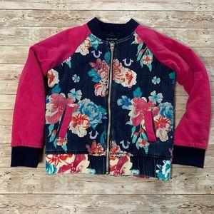 True Religion Girls Pink Floral Bomber Jacket